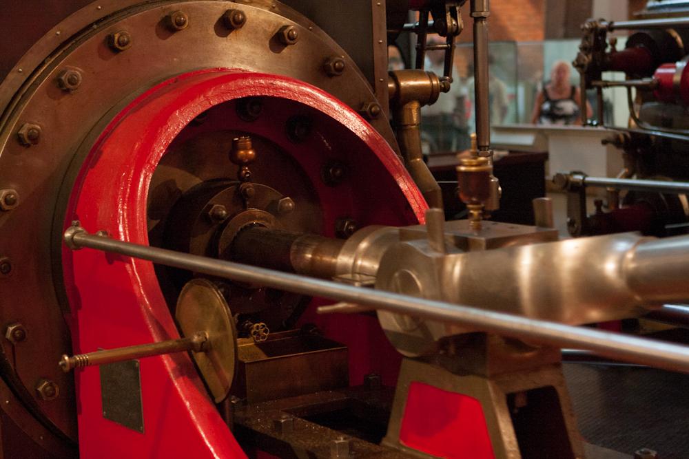 Parný stroj používaný v mlyne vyrobený spoločnosťou Burnley Ironworks Company v roku 1903